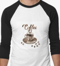 Hand painted watercolor illustration with cup of espresso and coffee beans. Logo Men's Baseball ¾ T-Shirt