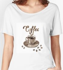 Hand painted watercolor illustration with cup of espresso and coffee beans. Logo Women's Relaxed Fit T-Shirt