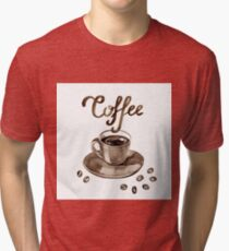 Hand painted watercolor illustration with cup of espresso and coffee beans. Logo Tri-blend T-Shirt