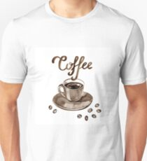 Hand painted watercolor illustration with cup of espresso and coffee beans. Logo Unisex T-Shirt