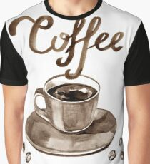 Hand painted watercolor illustration with cup of espresso and coffee beans. Logo Graphic T-Shirt