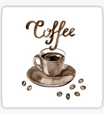 Hand painted watercolor illustration with cup of espresso and coffee beans. Logo Sticker
