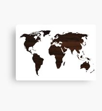 Wooden World Map Canvas Print