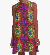 colourful fractal spiral A-Line Dress