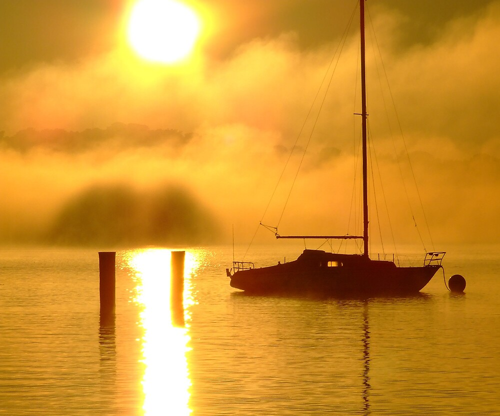 more yachts at foggy sunrise by SDJ1