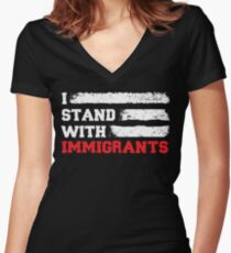 I stand with immigrants T Shirt USA Flag country Shirts Women's Fitted V-Neck T-Shirt