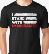 Camiseta ajustada Me paro con los inmigrantes T Shirt País de la bandera de Estados Unidos T Shirts