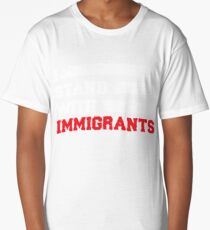 I stand with immigrants T Shirt USA Flag country Shirts Long T-Shirt