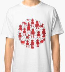 Robot Pattern - Red and White Classic T-Shirt
