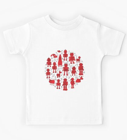 Robot Pattern - Red and White - fun pattern by Cecca Designs Kids Clothes