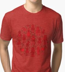 Robot Pattern - Red and White - fun pattern by Cecca Designs Tri-blend T-Shirt