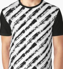 Diagonal Striped Pattern Painted Graphic T-Shirt
