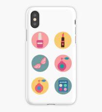 Cosmetics Set. Icons Set. Cosmetology. Fashion and Beauty. Perfume, Polish, Pomade. Female Beauty. Vector illustration. Flat Style iPhone Case