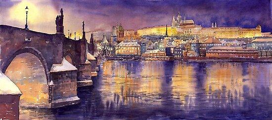Prague Charles Bridge and Prague Castle with the Vltava River by Yuriy Shevchuk
