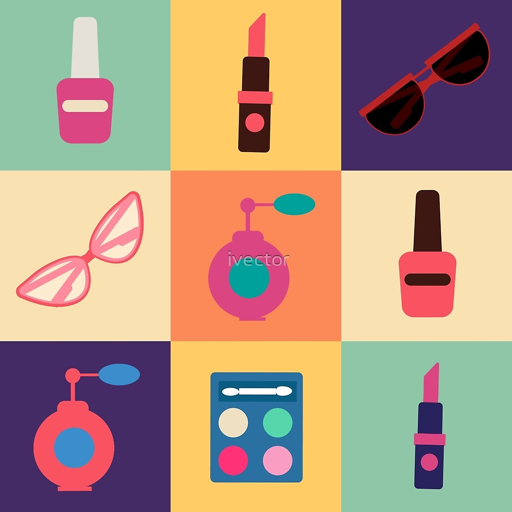 Cosmetics Set. Icons Set. Cosmetology. Fashion and Beauty. Perfume, Polish, Pomade. Female Beauty. Vector illustration. Flat Style by ivector