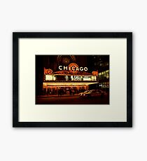 Chicago Theater Night Time (Cinema)  Framed Print