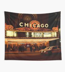 Chicago Theater Night Time (Cinema)  Wall Tapestry
