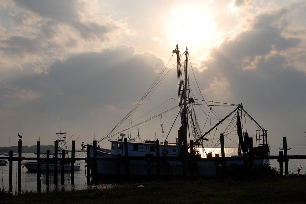 Shrimp Boats Sunset - Amelia Island by Robert Baker