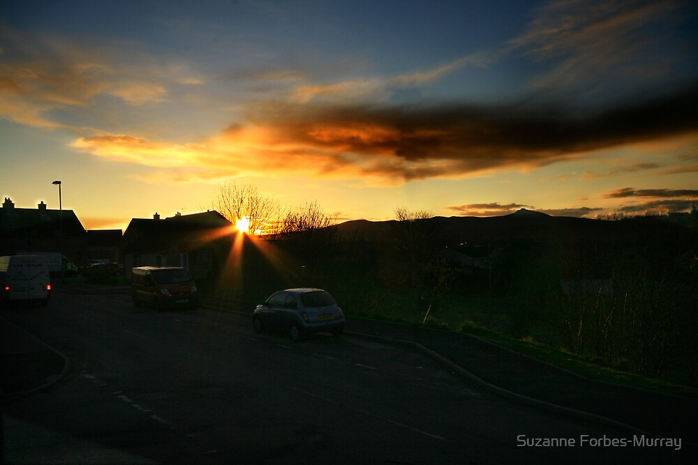 Kemnay with the Sun Setting by Suzanne Forbes-Murray