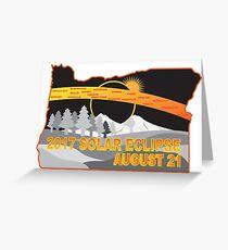 2017 Solar Eclipse Across Oregon Cities Map Illustration Greeting Card