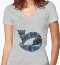 slinky black Ferret Women's Fitted V-Neck T-Shirt