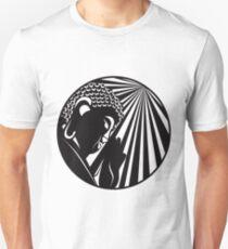 Buddha Raised Hand with Light Rays Circle Black and White Illustration Unisex T-Shirt