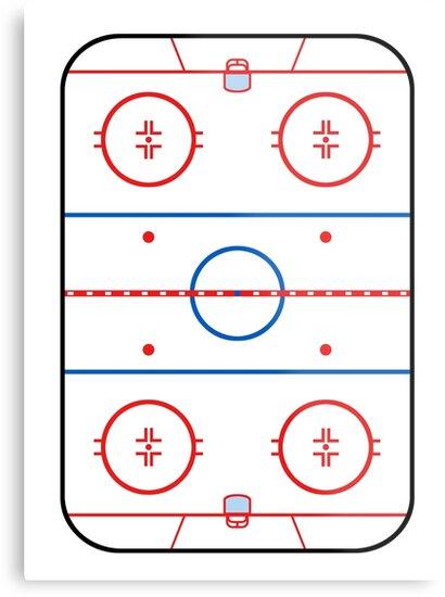 Ice Rink Diagram Hockey Game Companion Metal Prints By Garaga