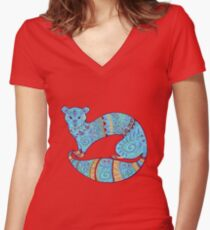 Turquoise Fuzzy Ferret Women's Fitted V-Neck T-Shirt