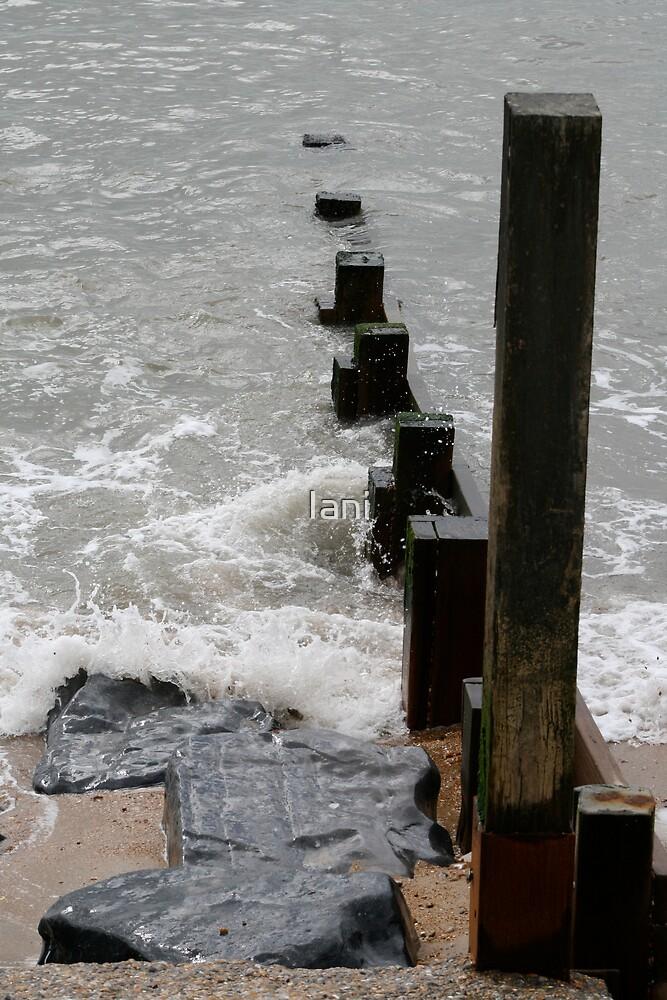Crashing waves against Posts  by Iani