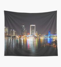 Jacksonville Skyline (Night Time) Wall Tapestry