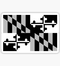 Black & White Maryland Flag Sticker