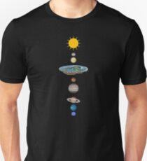 Camiseta ajustada Sistema solar de tierra plana