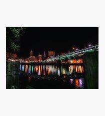 Cleveland Skyline At Night Photographic Print