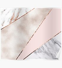 Spliced mixed rose gold marble Poster