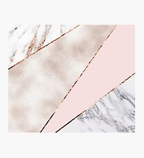 Spliced mixed rose gold marble Photographic Print