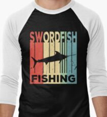 Swordfish Fishing Vintage Retro Men's Baseball ¾ T-Shirt