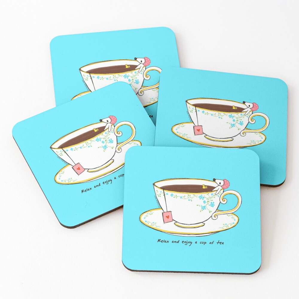 Relax And Enjoy A Cup Of Tea Coasters (Set of 4)