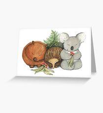 Native Australian Animal Babies – With Koala, Wombat And Echidna Greeting Card