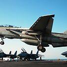 Ein F-14D Tomcat bereitet sich vor, auf dem Flugdeck der USS Theodore Roosevelt zu landen. von StocktrekImages