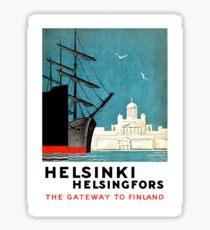 Helsinki, Helsingfors, boats, Finland, vintage travel poster Sticker