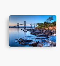 Newport Bridge Sunrise Seascape Canvas Print