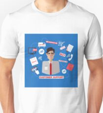 Customer Service. Online Service. Customer Support. Support Call Center. Man Assistant. Help. Vector illustration. Flat style T-Shirt