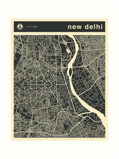 NEW DELHI MAP by JazzberryBlue