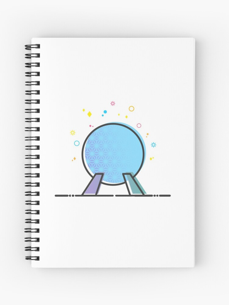 89738f5f5a00c4 Spaceship Earth Epcot Ride Vector Illustration Cute Design Artwork Spiral  Notebook