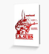 UK SUBS warhead punk Greeting Card