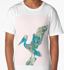 Pelican in pink abstract Long T-Shirt