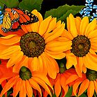 Sunflowers and Monarch Butterfly by Sharen Chatterton