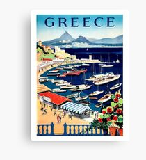 Greece, tourist boats on the coast, vintage travel poster Canvas Print