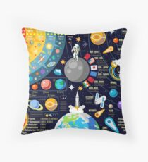 Space Universe Infographics Big Bang Throw Pillow