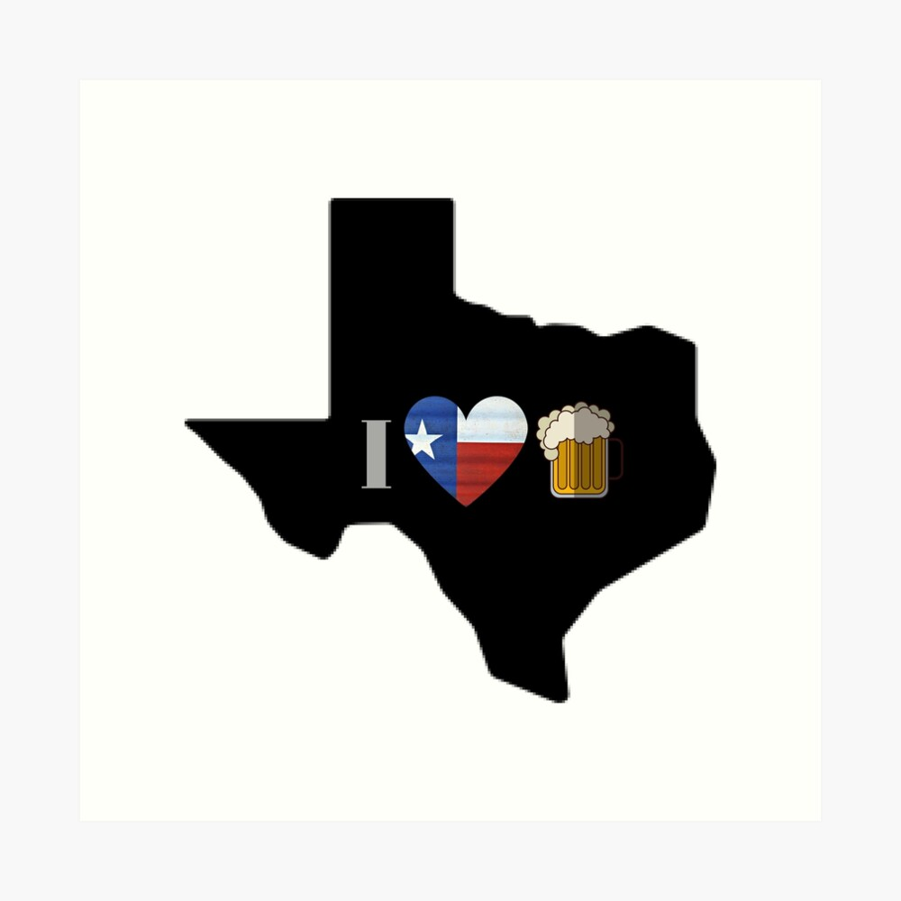 Texas Flag Beer Art Print